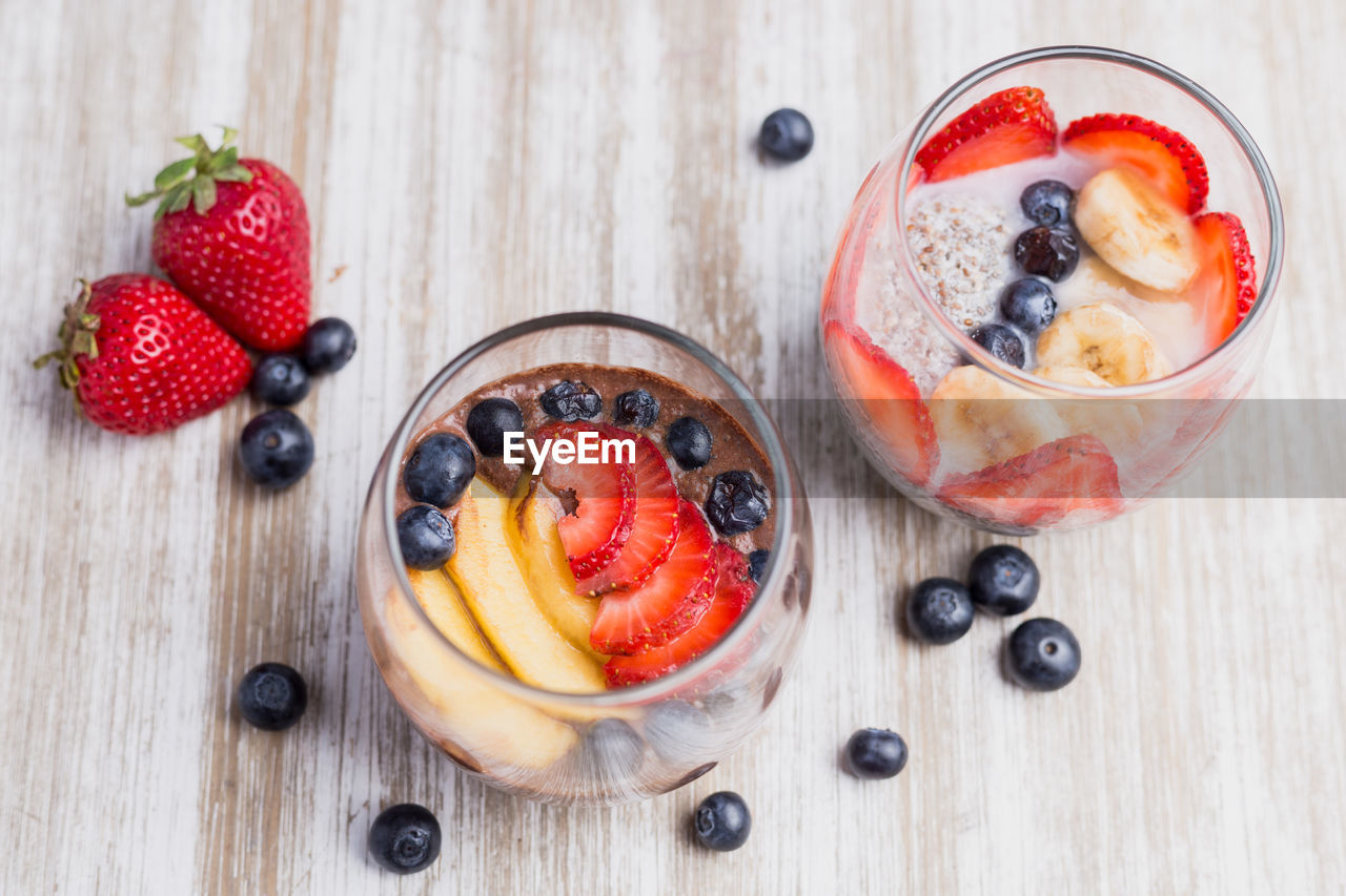 berry fruit, fruit, blueberry, food and drink, healthy eating, freshness, food, strawberry, breakfast, spoon, wellbeing, bowl, eating utensil, kitchen utensil, indoors, wood - material, high angle view, close-up, table, raspberry, meal, no people, oats - food, yogurt