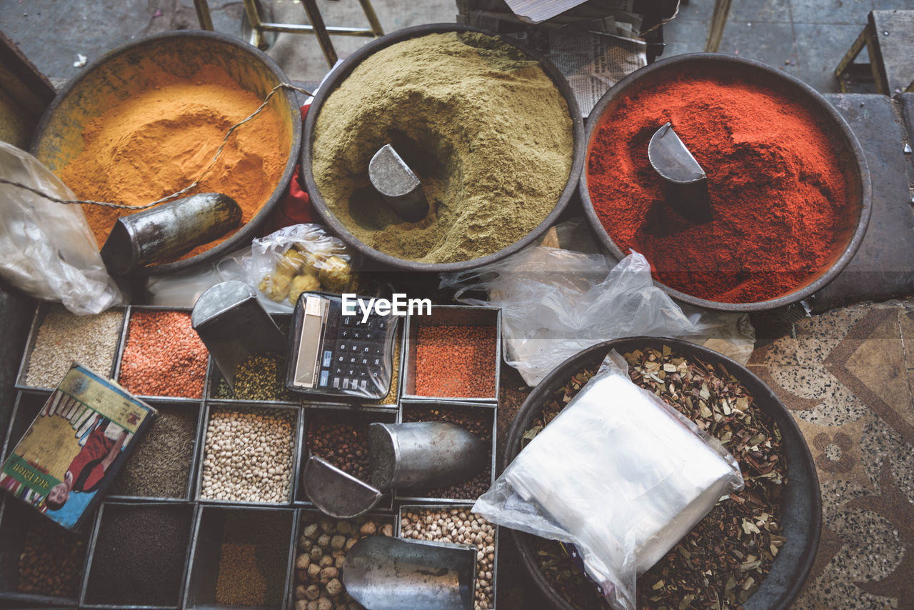 High Angle View Of Various Spices At Market Stall