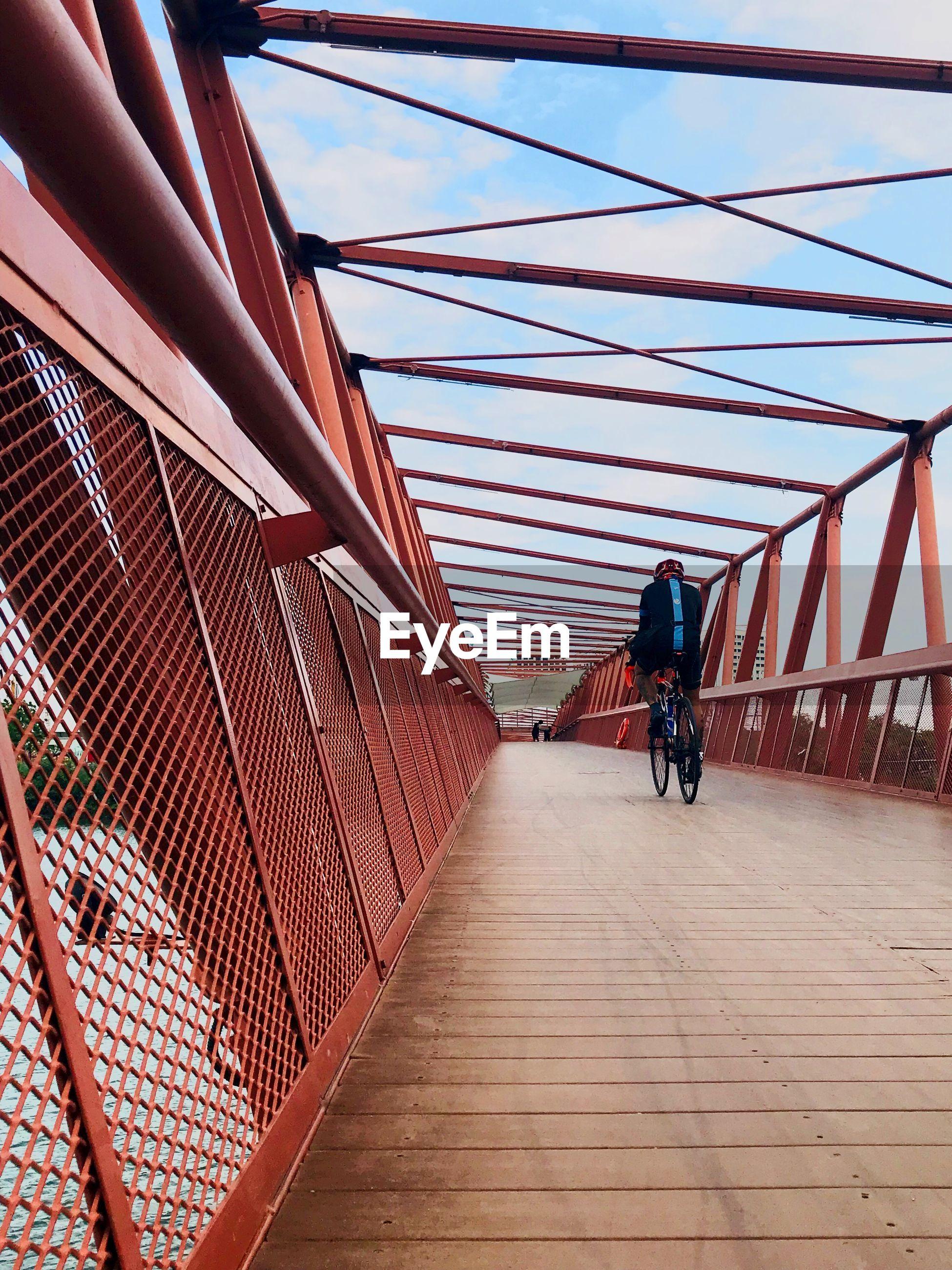 Rear view of man riding bicycle on bridge