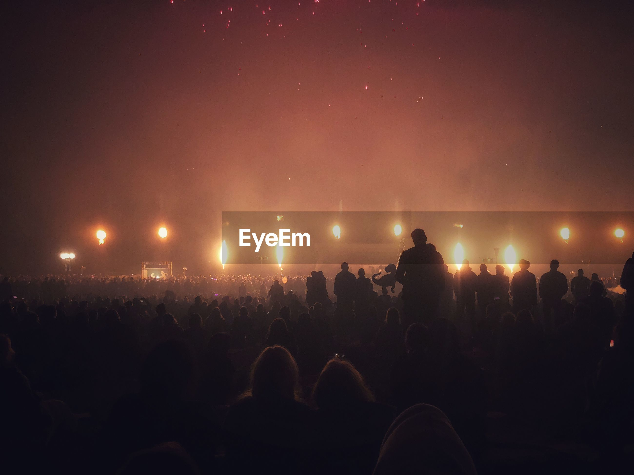 Crowd at music concert against sky during night
