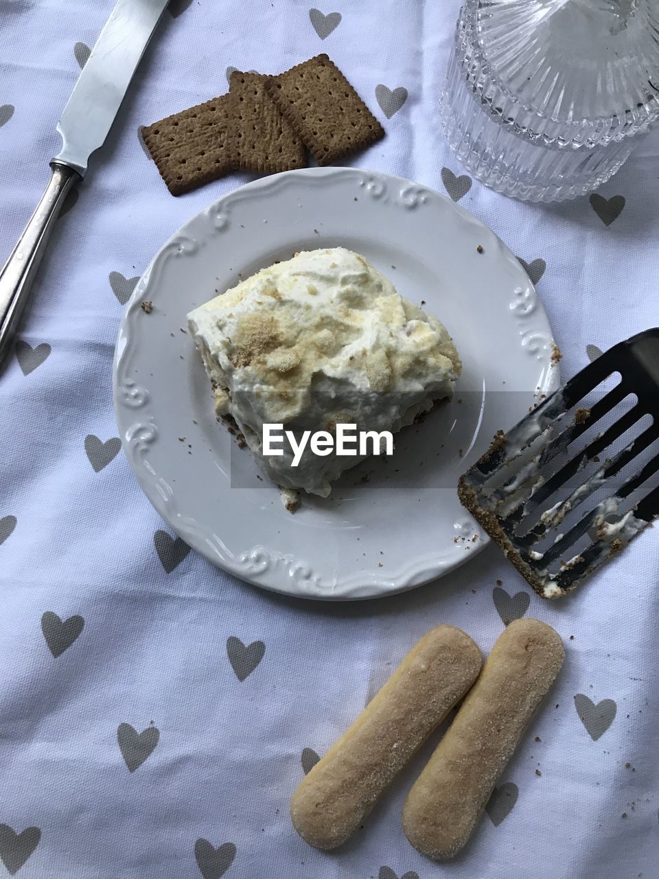 food, plate, eating utensil, food and drink, fork, kitchen utensil, sweet food, still life, high angle view, sweet, freshness, dessert, table, ready-to-eat, indoors, indulgence, no people, knife, temptation, unhealthy eating, table knife, breakfast