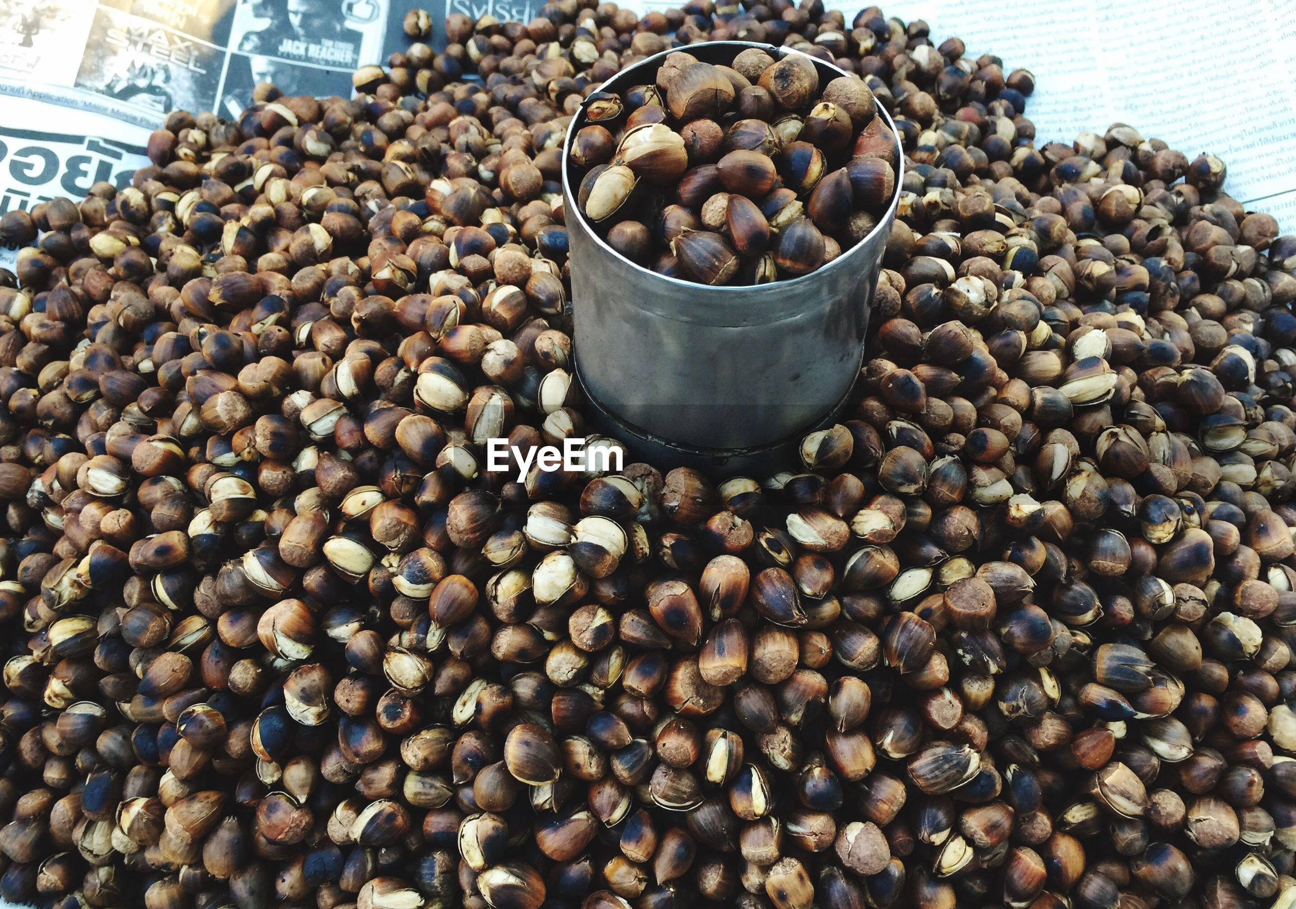 High angle view of roasted chestnuts for sale