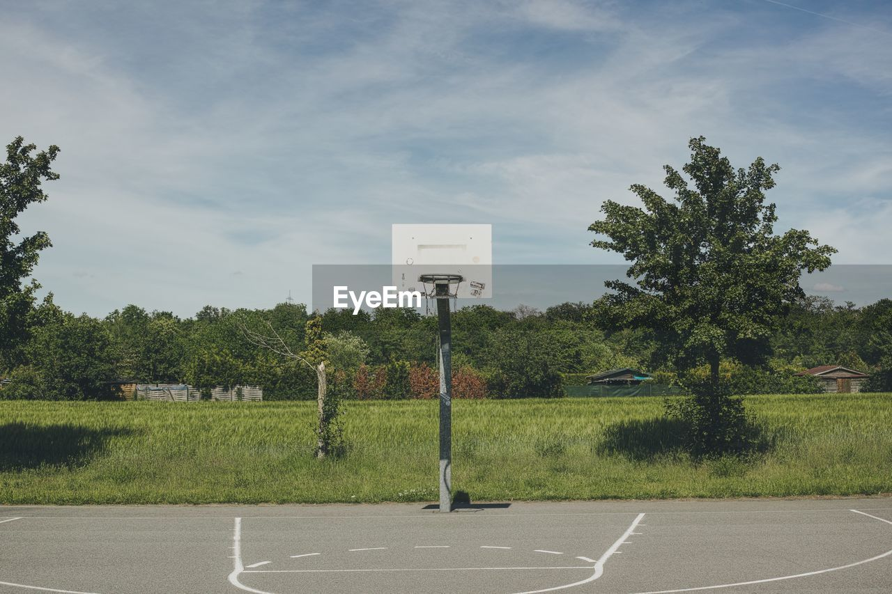 plant, tree, sky, sign, cloud - sky, nature, day, grass, sport, no people, communication, basketball - sport, court, green color, sunlight, outdoors, absence, land, growth, tranquility