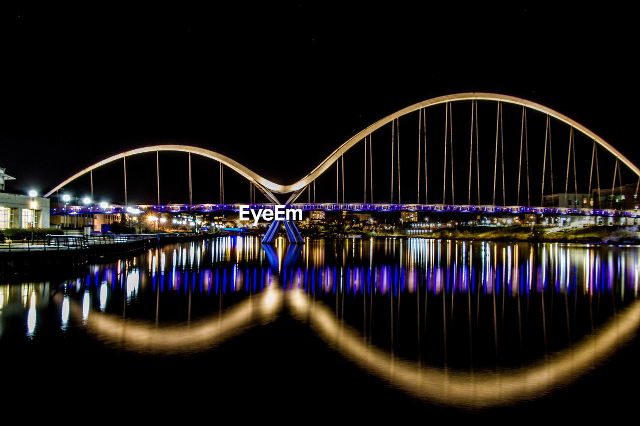 bridge - man made structure, connection, architecture, built structure, transportation, river, water, reflection, illuminated, arch, waterfront, no people, outdoors, night, travel destinations, clear sky, sky