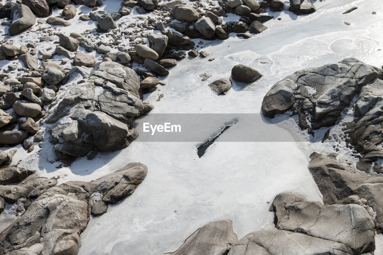 solid, rock, rock - object, nature, day, land, no people, water, stone, stone - object, high angle view, outdoors, beach, snow, beauty in nature, cold temperature, winter, tranquility, pebble, flowing water
