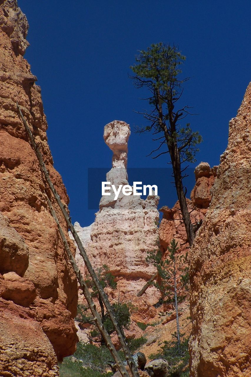 rock, sky, rock formation, clear sky, rock - object, blue, nature, solid, beauty in nature, no people, low angle view, plant, mountain, day, tranquility, land, scenics - nature, geology, physical geography, tree, outdoors, eroded, climate, arid climate, formation