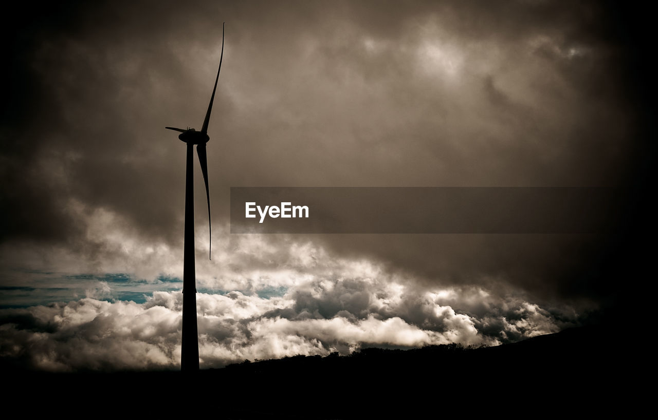 cloud - sky, sky, weather, silhouette, low angle view, nature, wind turbine, alternative energy, storm cloud, outdoors, wind power, no people, fuel and power generation, windmill, industrial windmill, beauty in nature, power in nature, day, thunderstorm