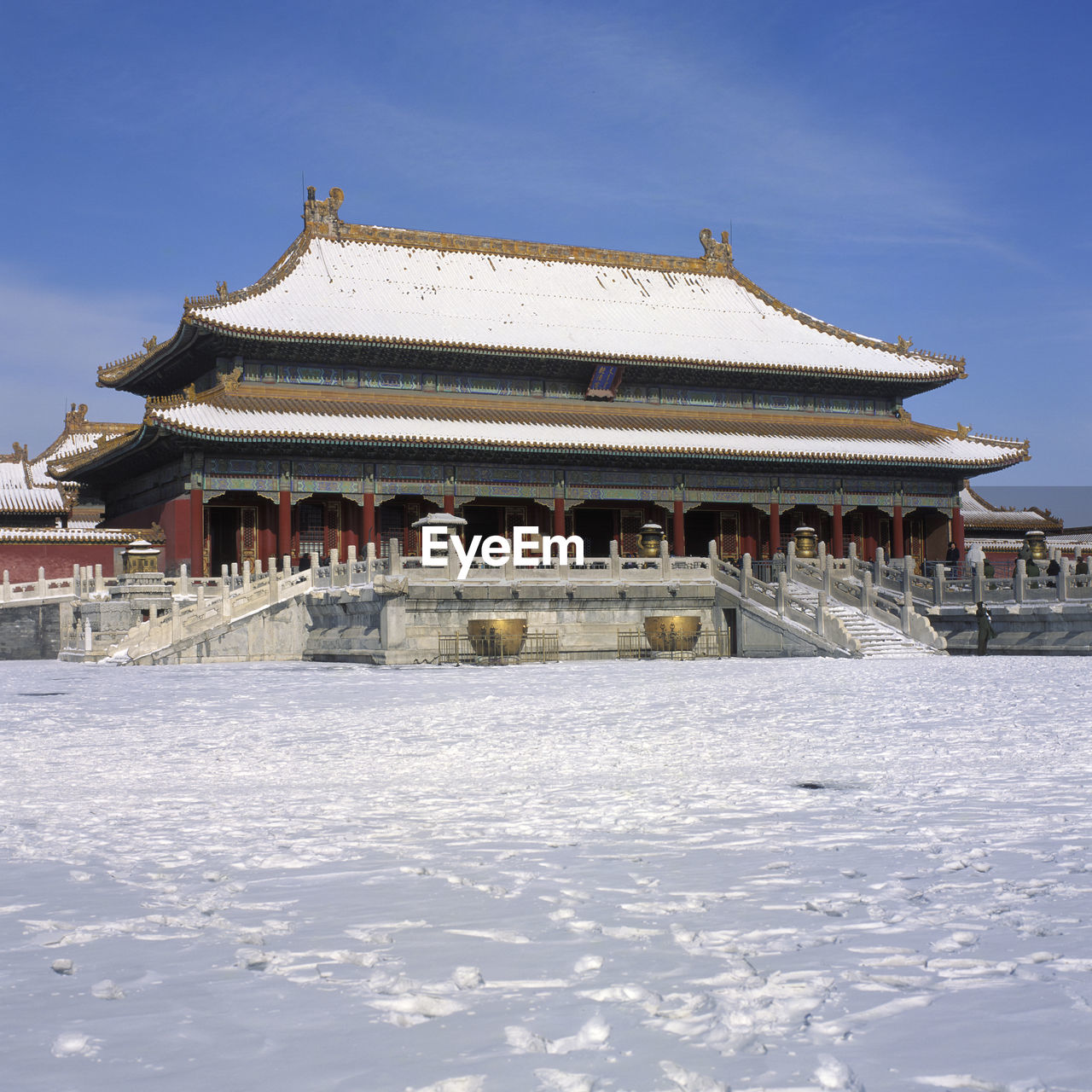 Shrine Against Sky During Winter