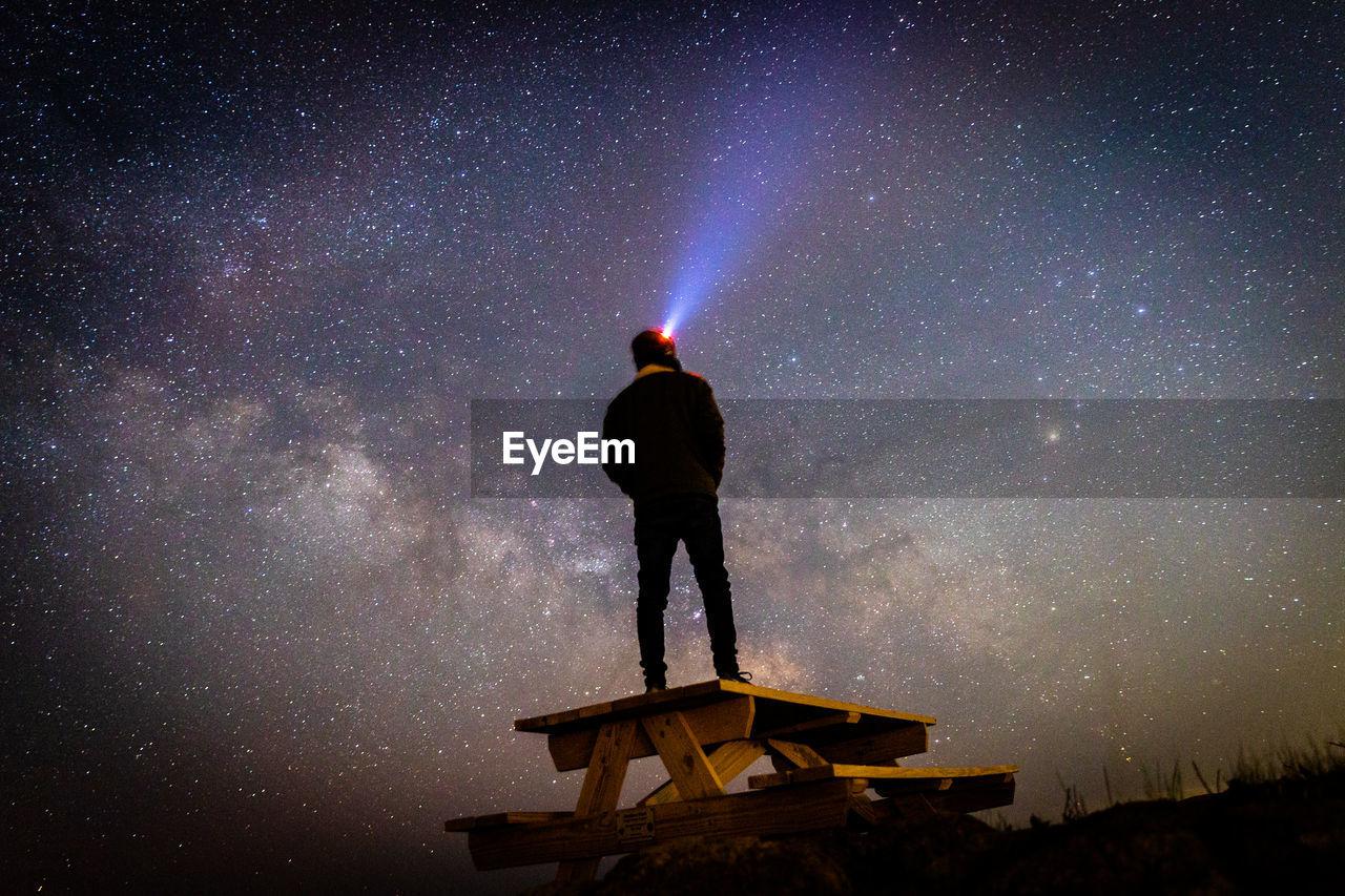 FULL LENGTH REAR VIEW OF MAN STANDING AGAINST SKY