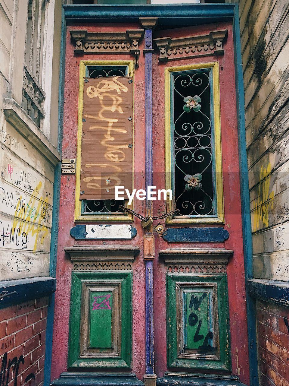 MULTI COLORED DOOR OF BUILDING