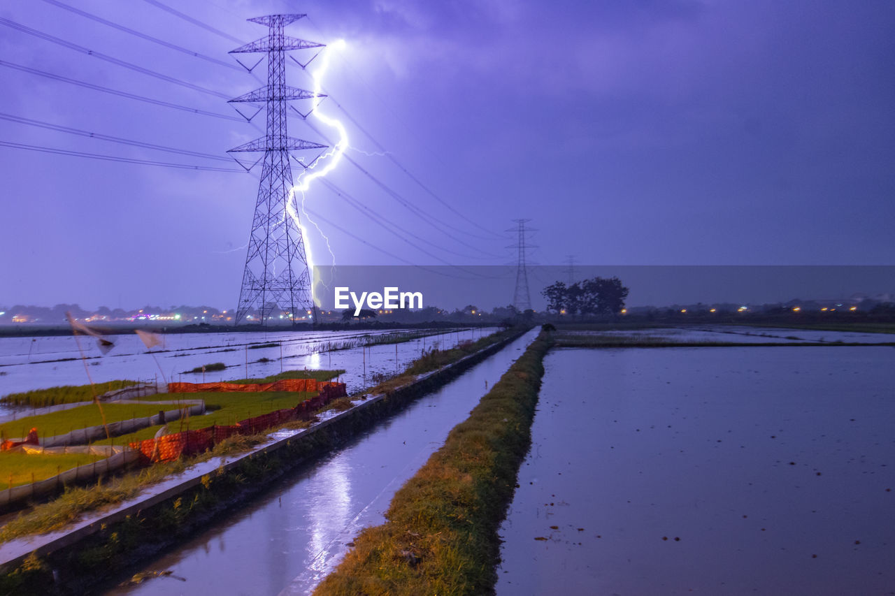 ELECTRICITY PYLON BY RIVER AGAINST SKY