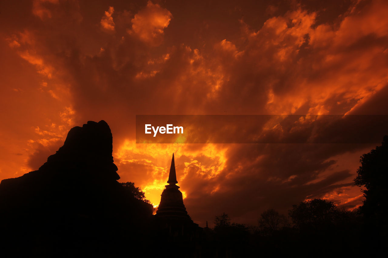 sky, cloud - sky, silhouette, sunset, belief, religion, beauty in nature, spirituality, place of worship, orange color, no people, nature, scenics - nature, travel destinations, low angle view, architecture, tourism, tranquil scene, built structure, outdoors