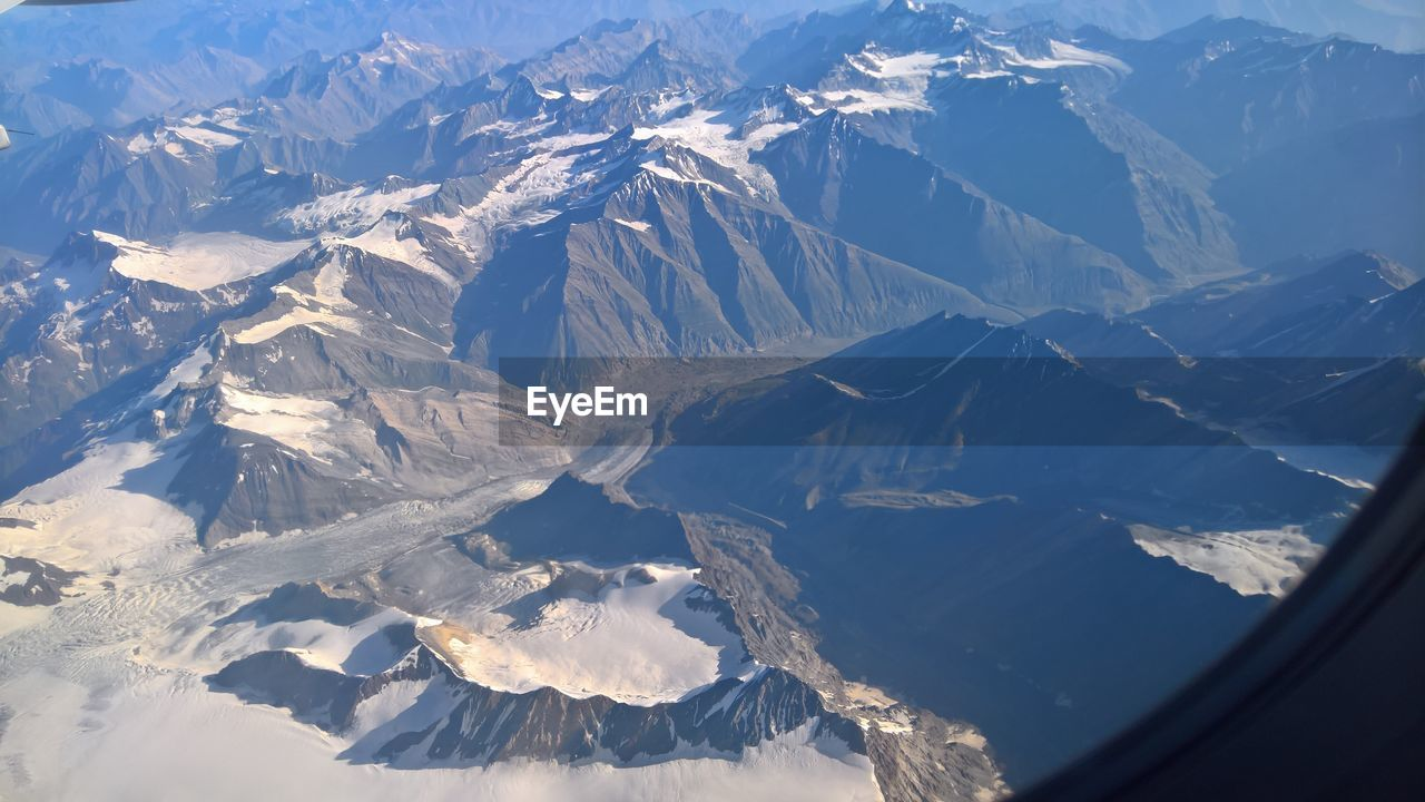 Aerial view of snowcapped mountains