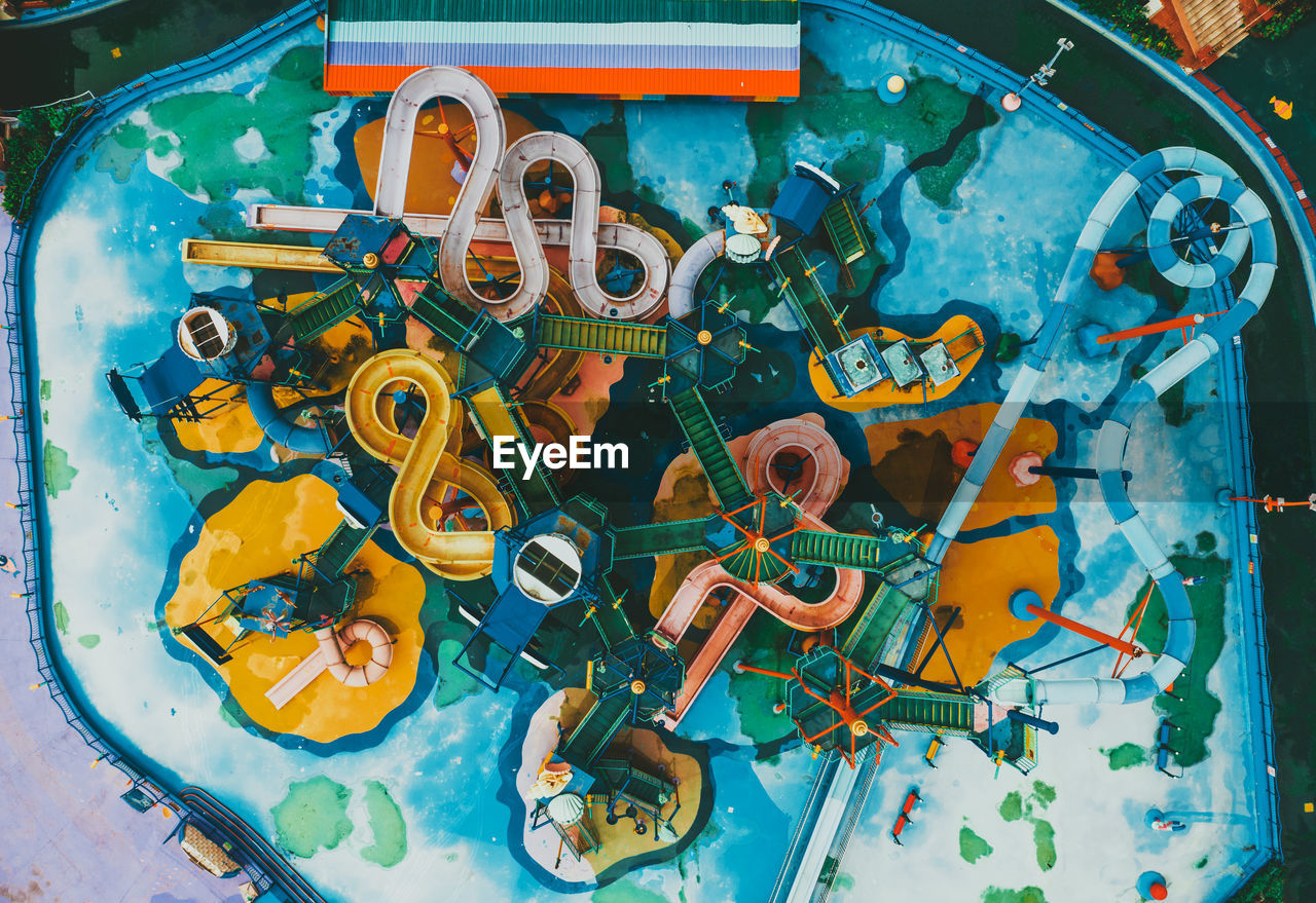 Aerial view of water park