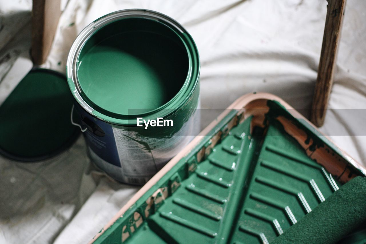 High Angle View Of Green Paint Can At Home