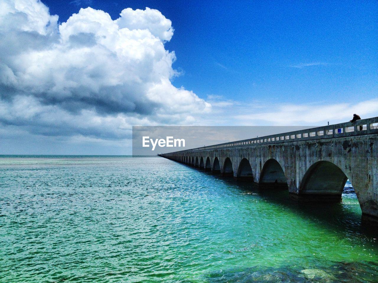 Arch bridge over sea against cloudy sky