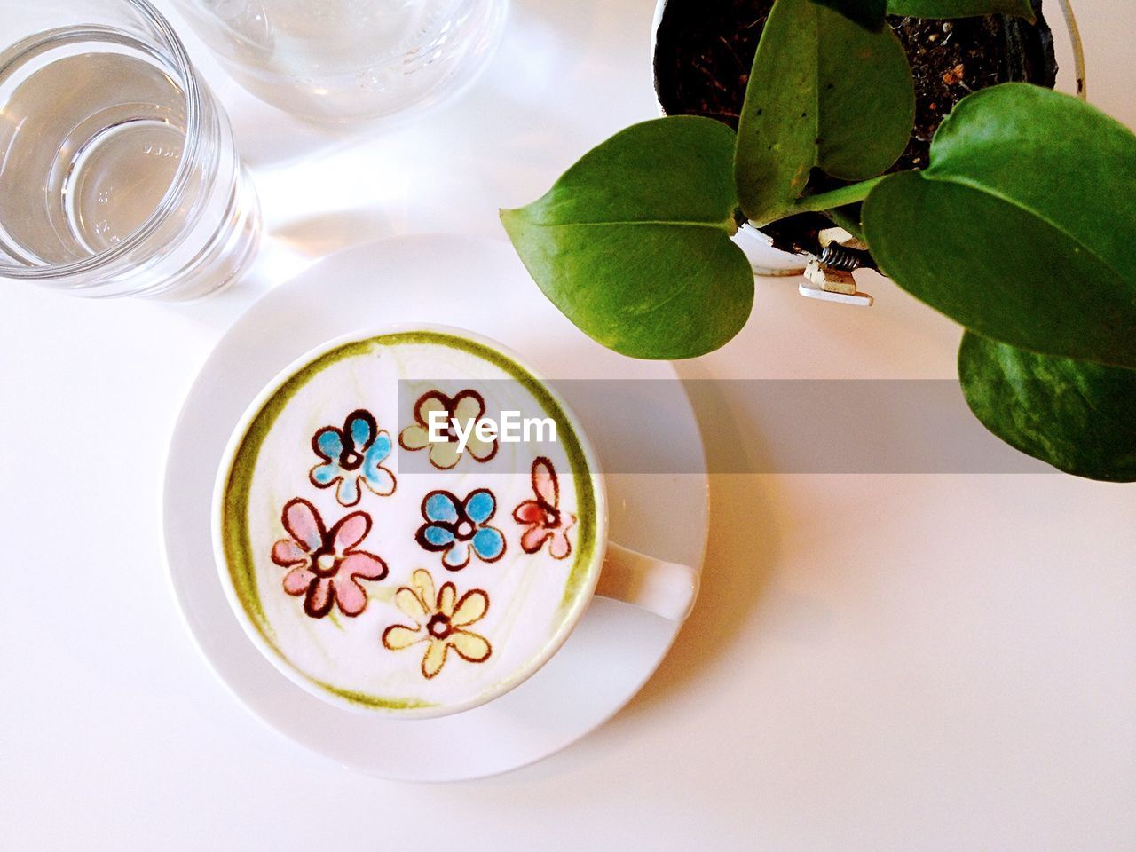 Directly Above View Of Floral Pattern Froth Art In Latte By Houseplant On Table At Cafe