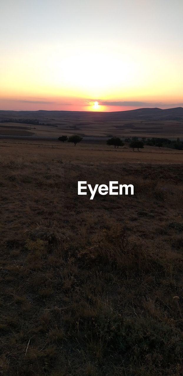 sky, sunset, tranquility, environment, beauty in nature, scenics - nature, landscape, tranquil scene, land, orange color, nature, non-urban scene, no people, field, sun, horizon, outdoors, horizon over land, idyllic, remote