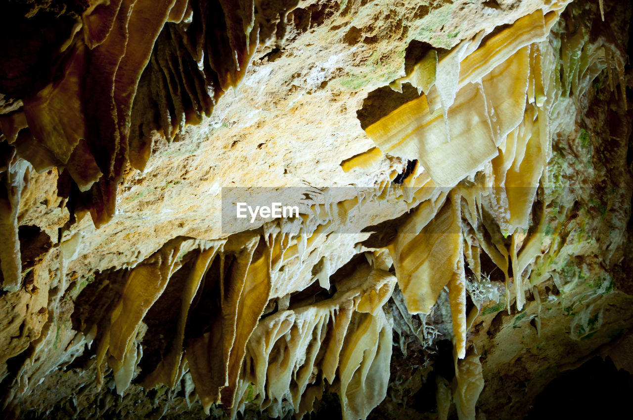 cave, stalactite, geology, no people, beauty in nature, rock, natural pattern, textured, indoors, pattern, rock - object, limestone, solid, nature, low angle view, close-up, rock formation, rough, physical geography, eroded
