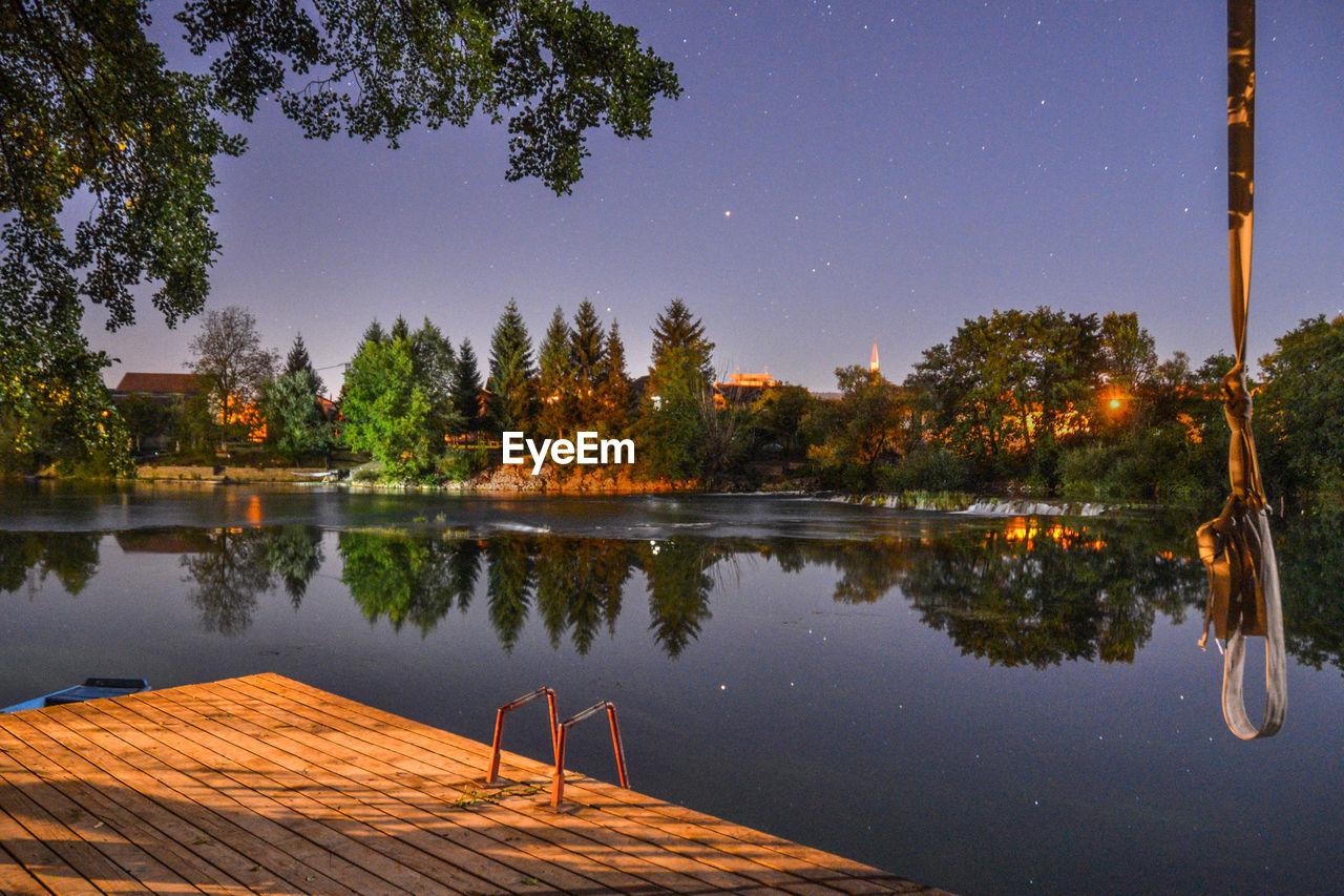 SCENIC VIEW OF LAKE AT NIGHT