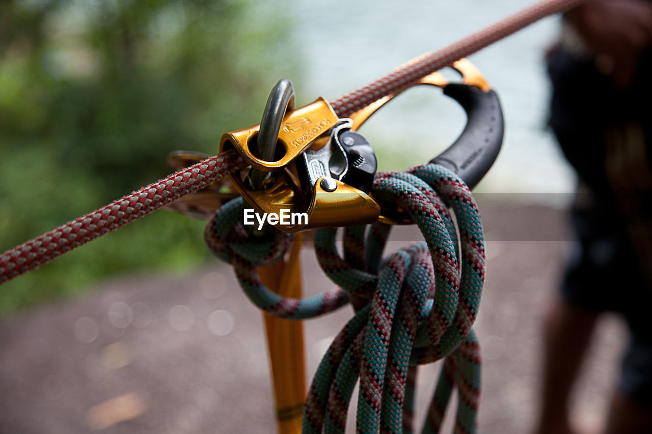 Close-Up Of Ropes And Carabiner