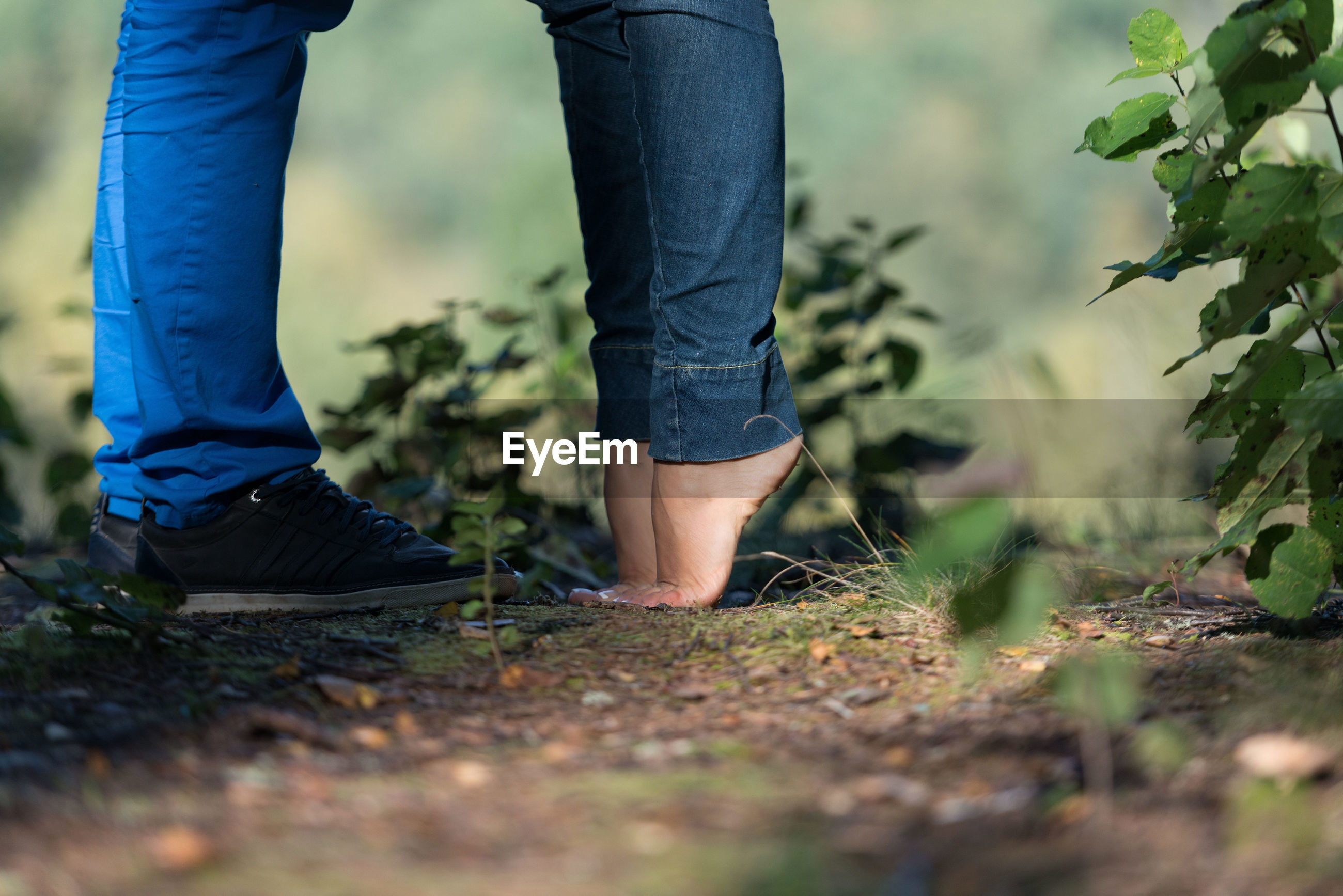 Low section of couple standing amidst plants