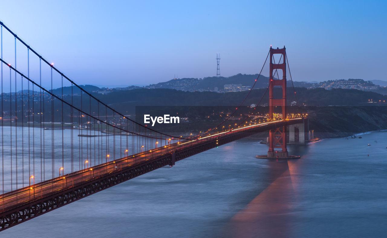 View of suspension bridge in city