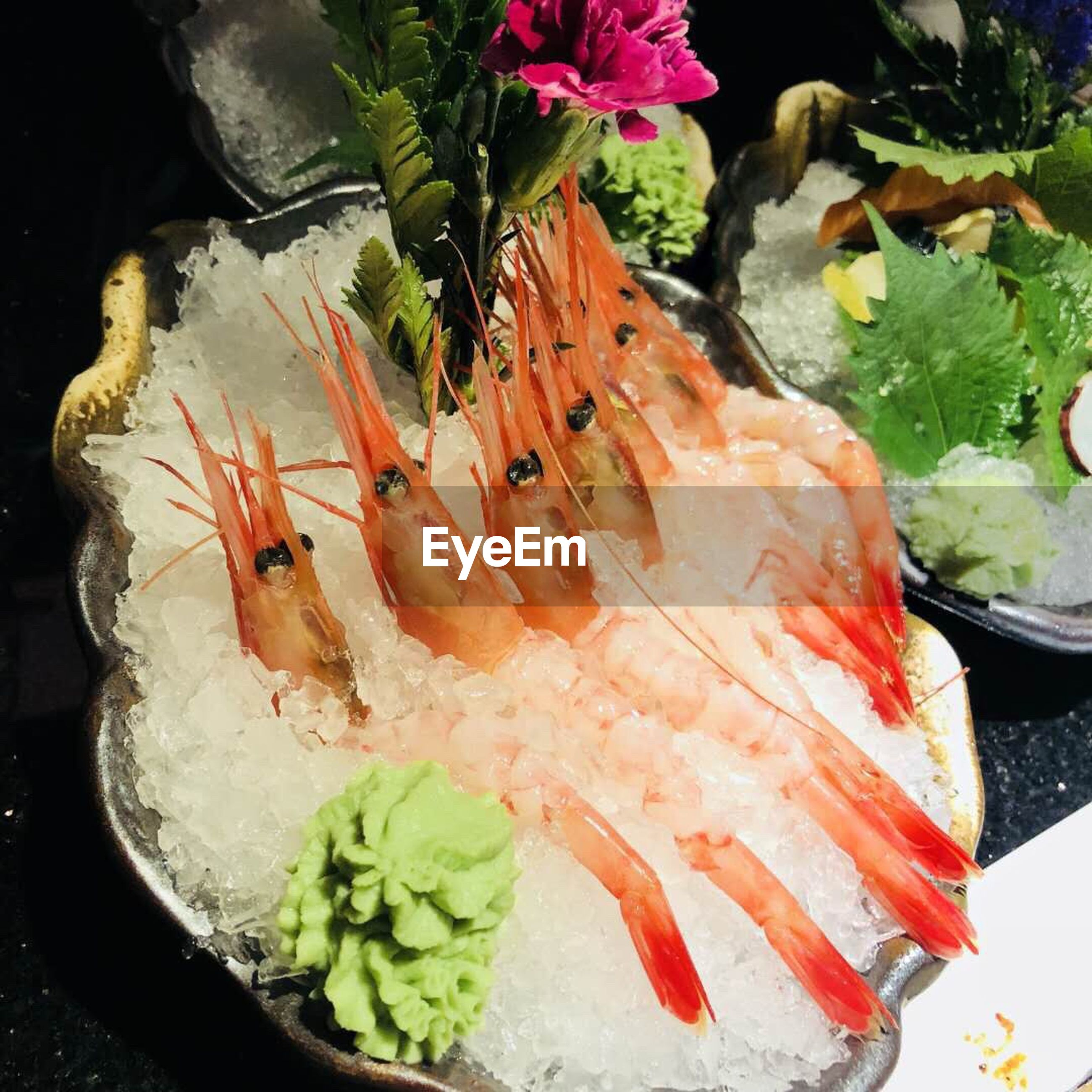 freshness, seafood, food, food and drink, wellbeing, close-up, fish, ready-to-eat, healthy eating, indoors, no people, japanese food, flower, flowering plant, animal, ice, still life, high angle view, plate, sashimi, dinner