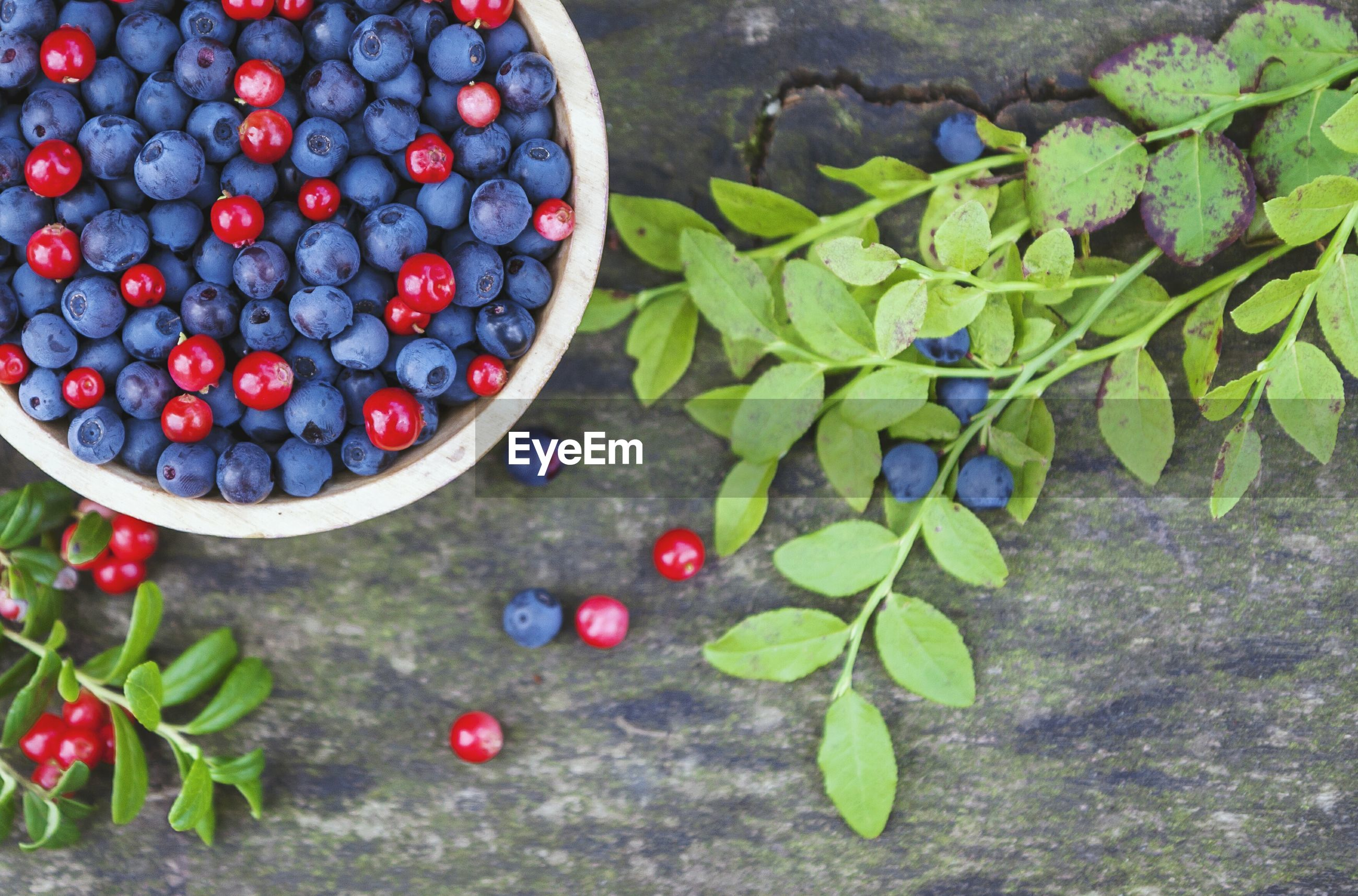 Directly above shot of berries in bowl on table