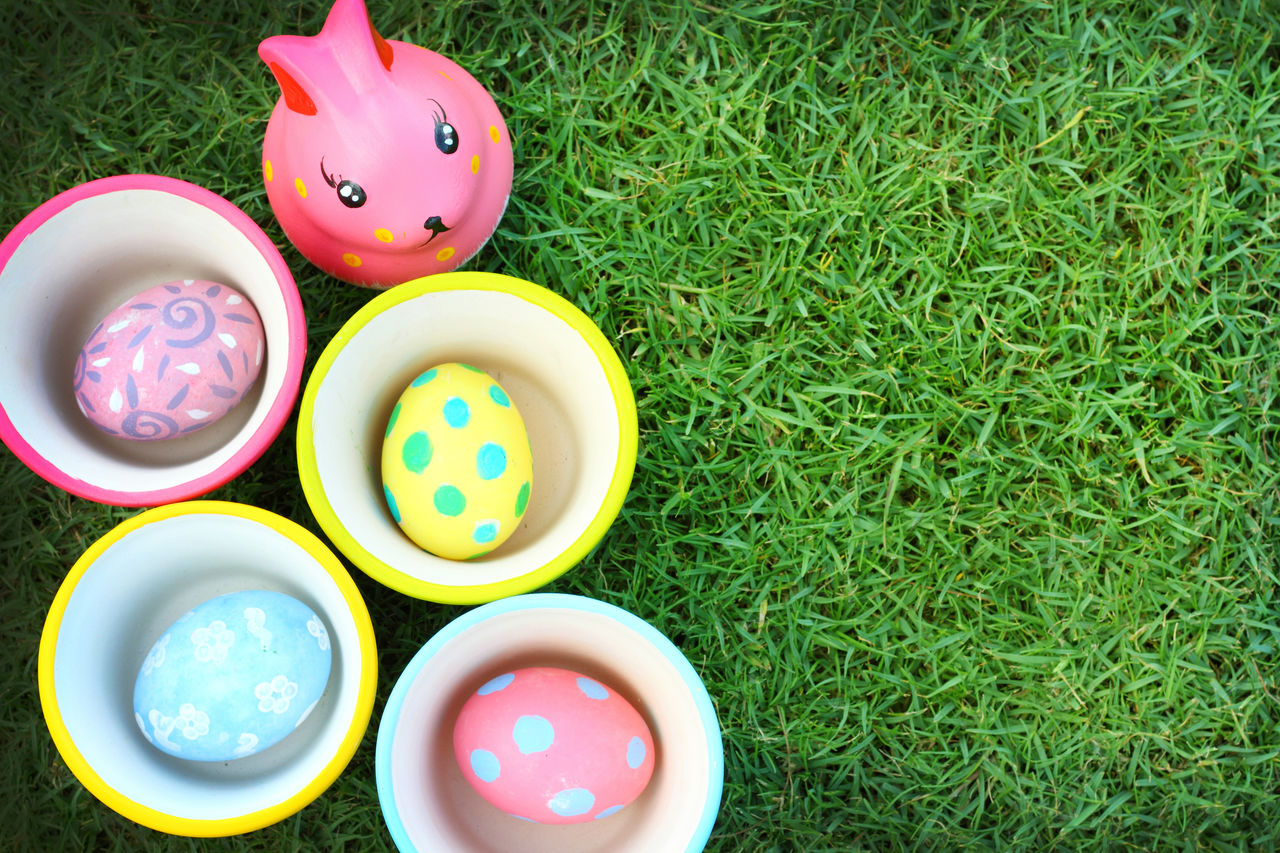 grass, multi colored, green color, plant, high angle view, no people, nature, field, animal representation, land, choice, still life, variation, art and craft, day, directly above, creativity, easter, container, toy