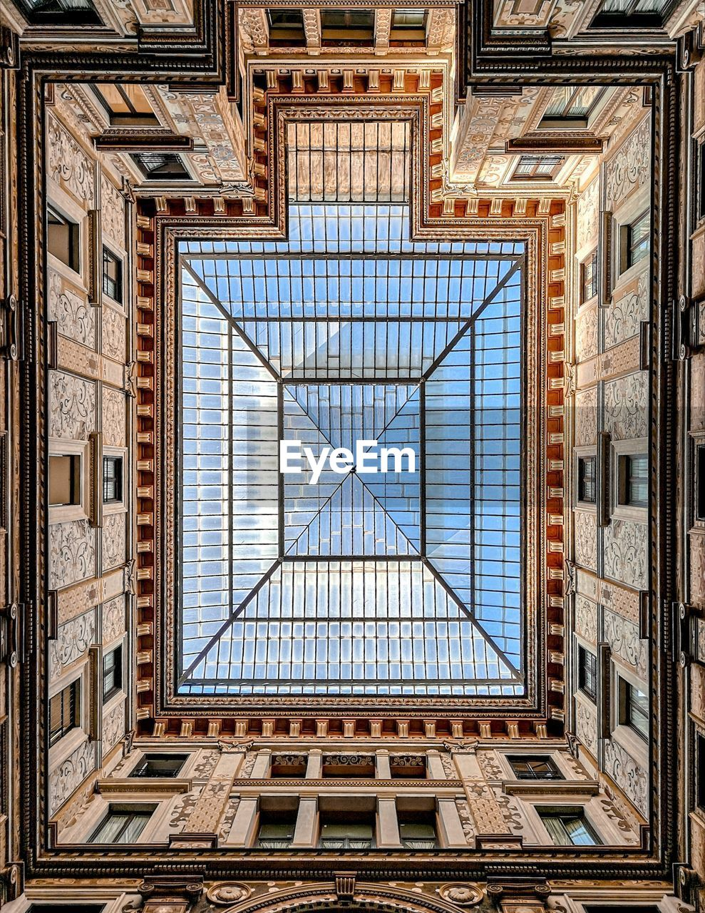 Directly Below Shot Of Building Skylight