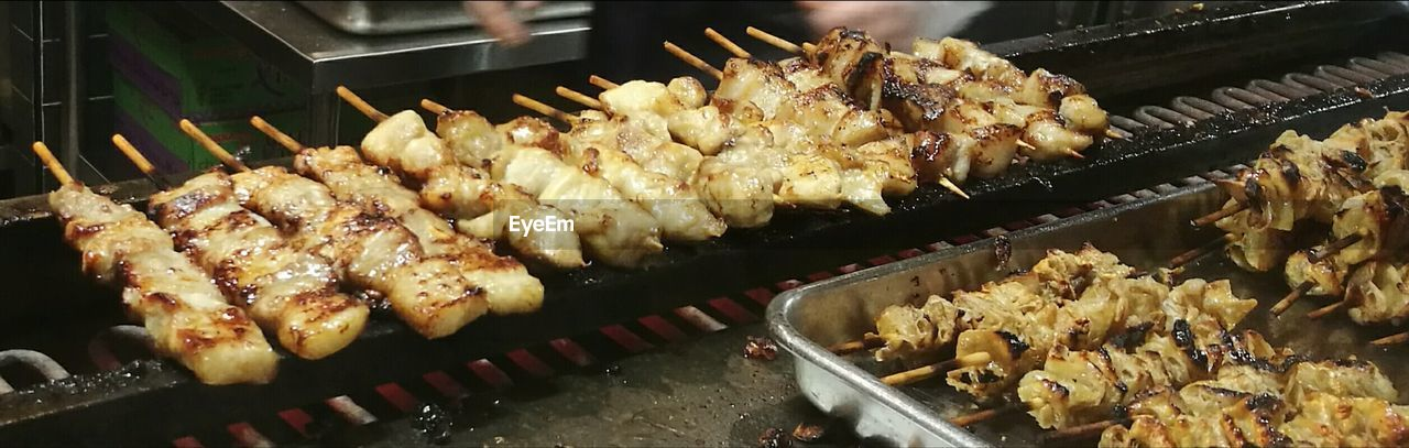 food, food and drink, freshness, preparation, still life, indoors, barbecue, meat, no people, close-up, skewer, wellbeing, grilled, healthy eating, ready-to-eat, preparing food, indulgence, heat - temperature, high angle view, temptation, snack, tray