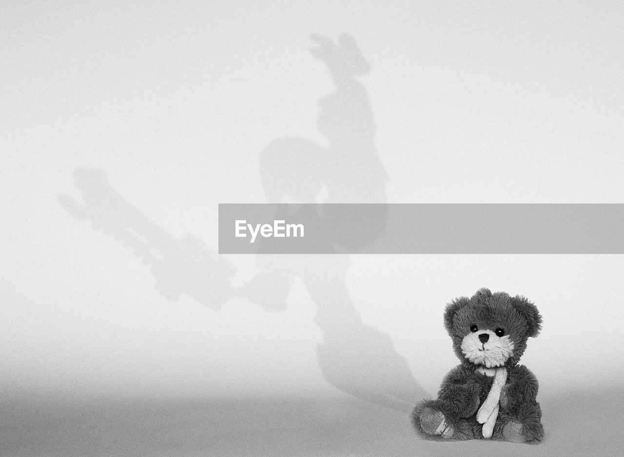 Teddy bear against wall