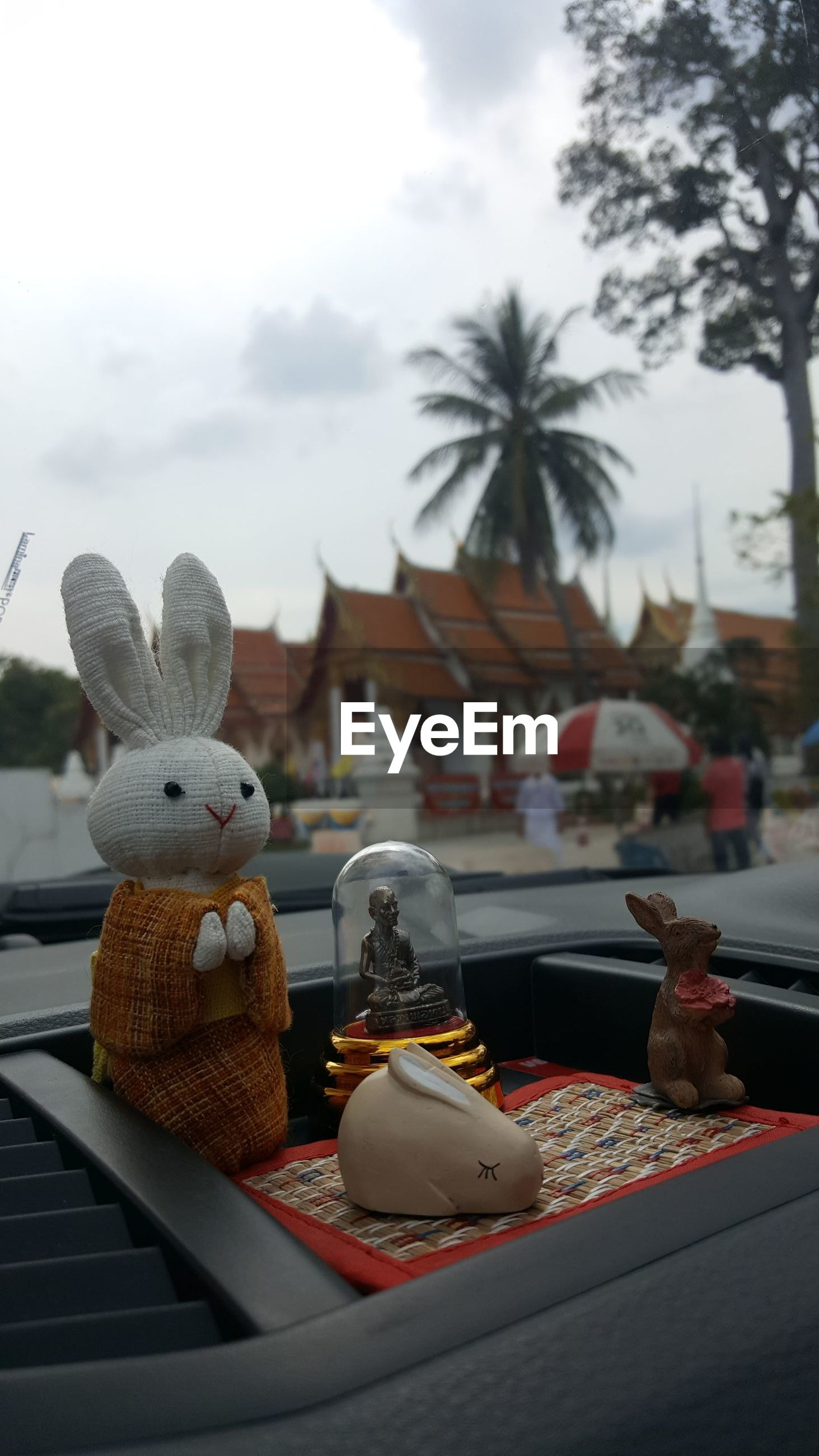 Close-up of figurines in car
