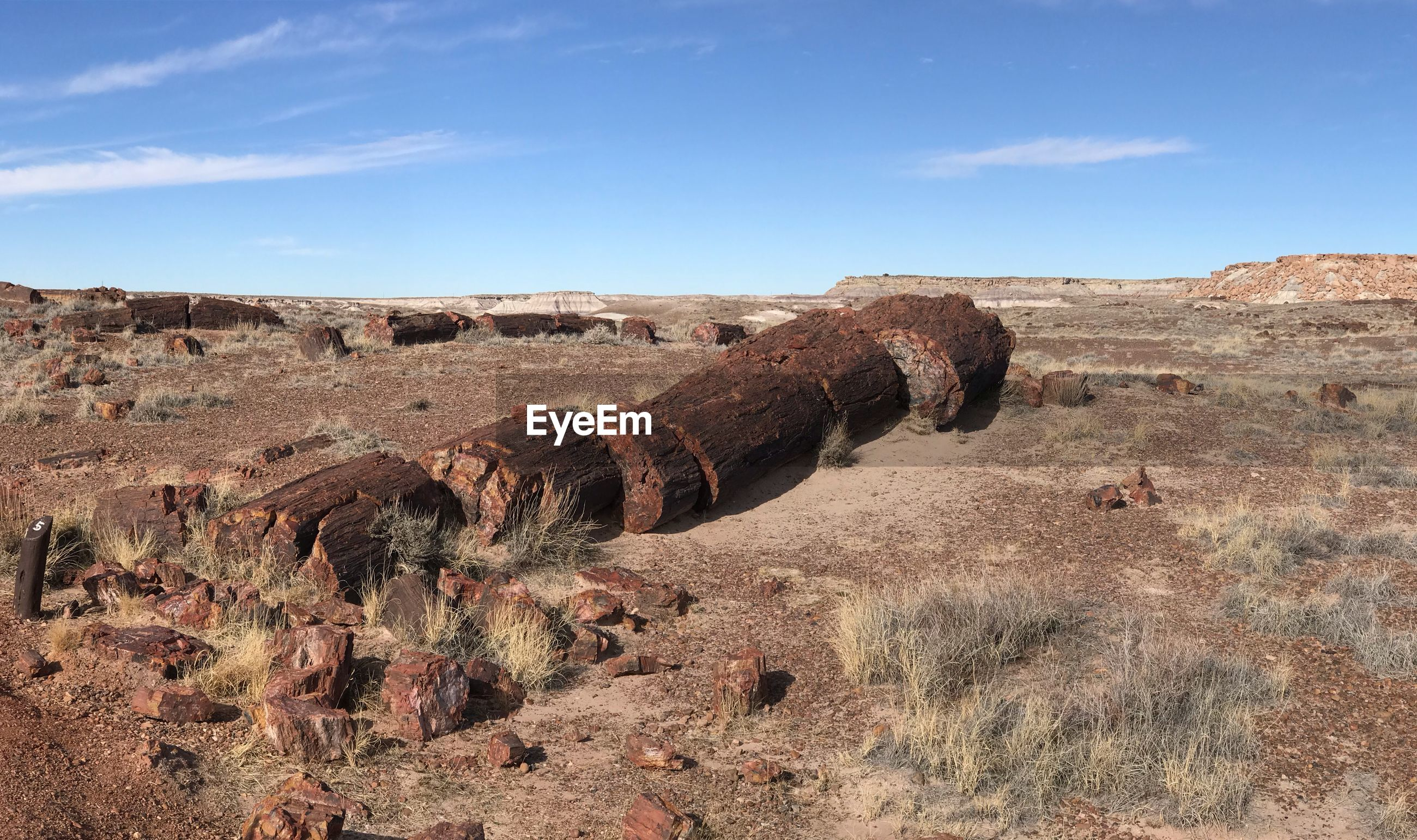 PANORAMIC VIEW OF ROCK FORMATIONS ON FIELD AGAINST SKY