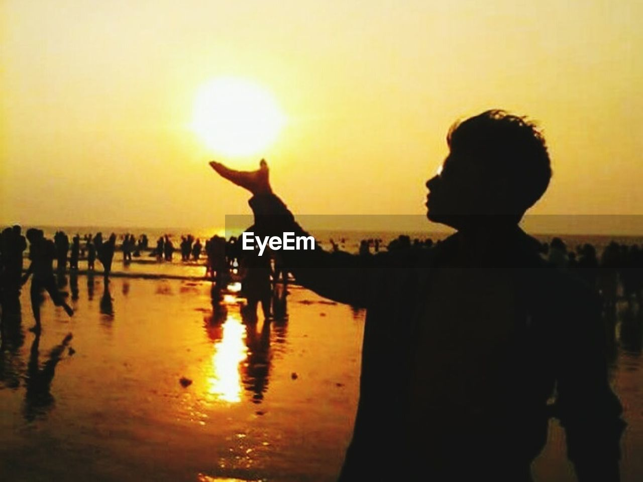 silhouette, sunset, sun, outdoors, real people, animal themes, people, one person, nature, sky, adult, adults only, human hand, day