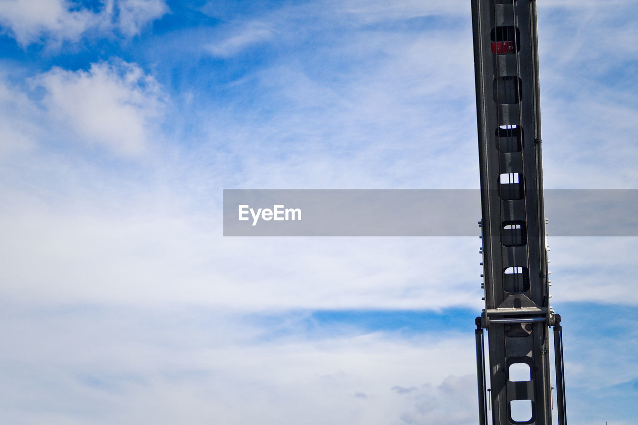 Extreme close-up of arm of high-lift crane