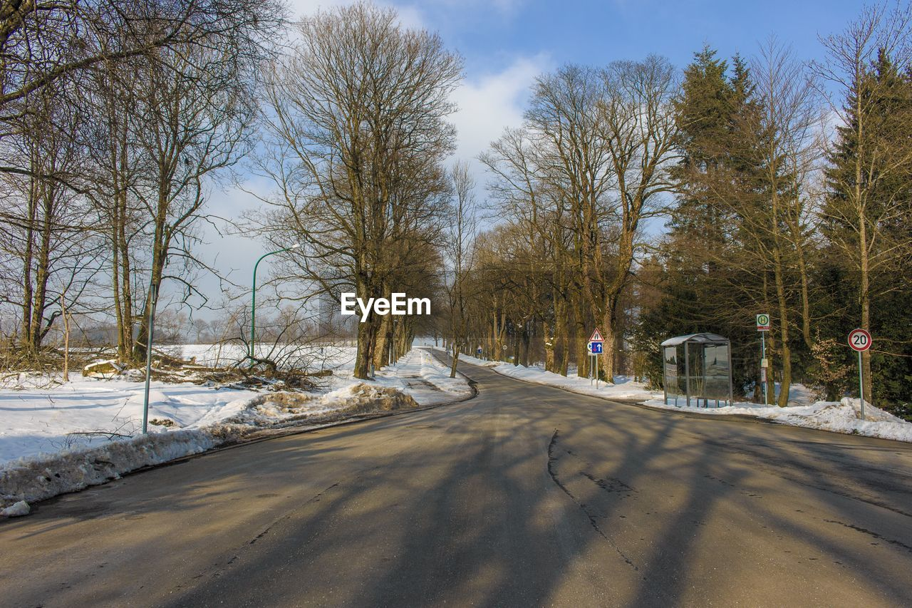 tree, road, snow, winter, the way forward, cold temperature, bare tree, day, outdoors, nature, transportation, street, no people, sky, scenics, beauty in nature