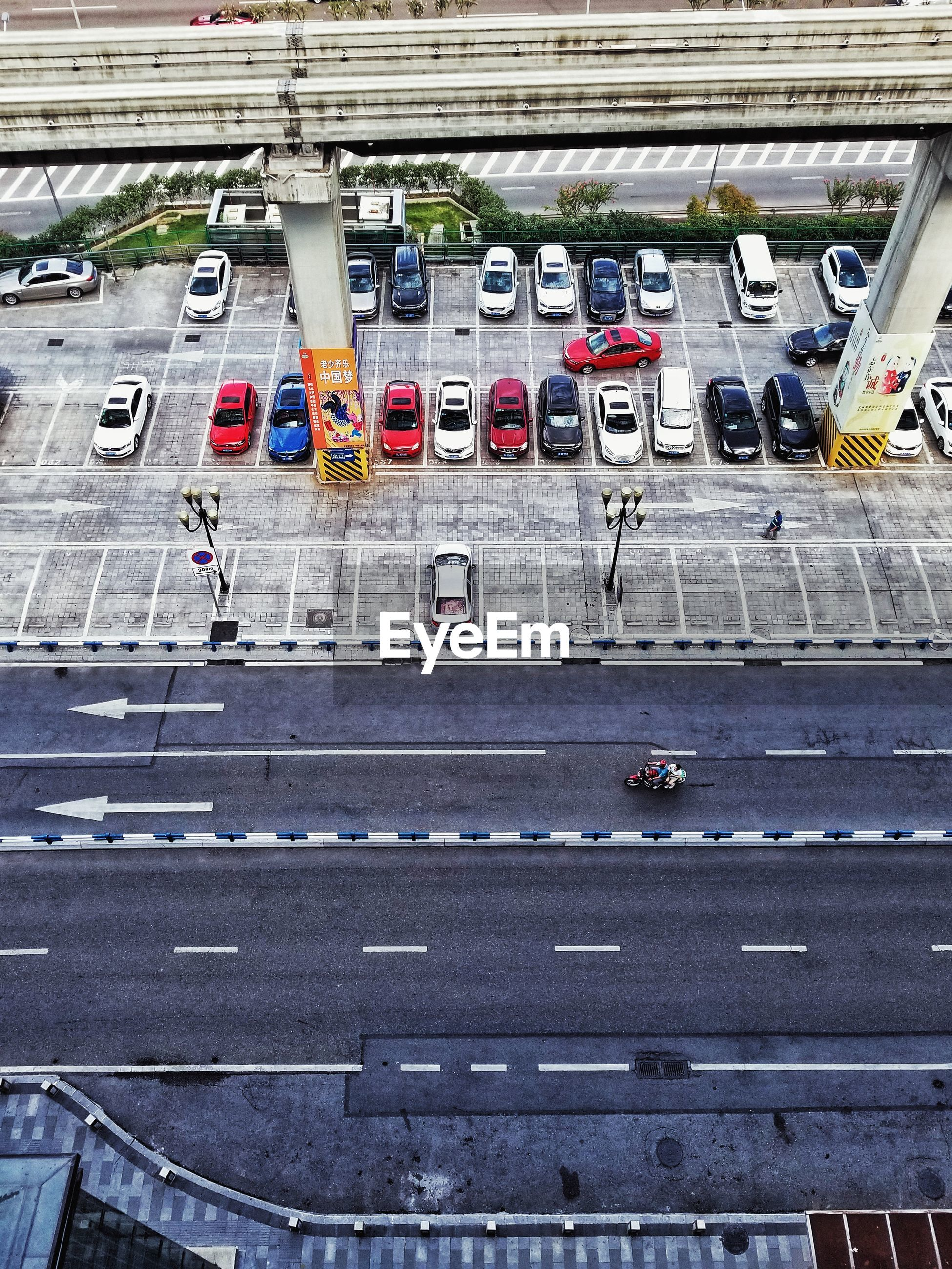 High angle view of cars on city street