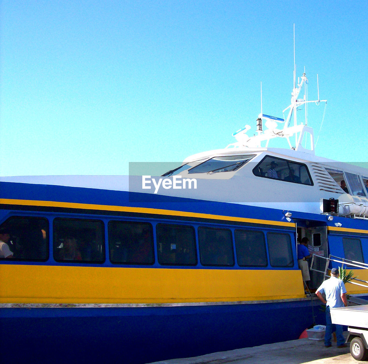 transportation, mode of transport, blue, clear sky, copy space, day, nautical vessel, outdoors, no people, sky, nature