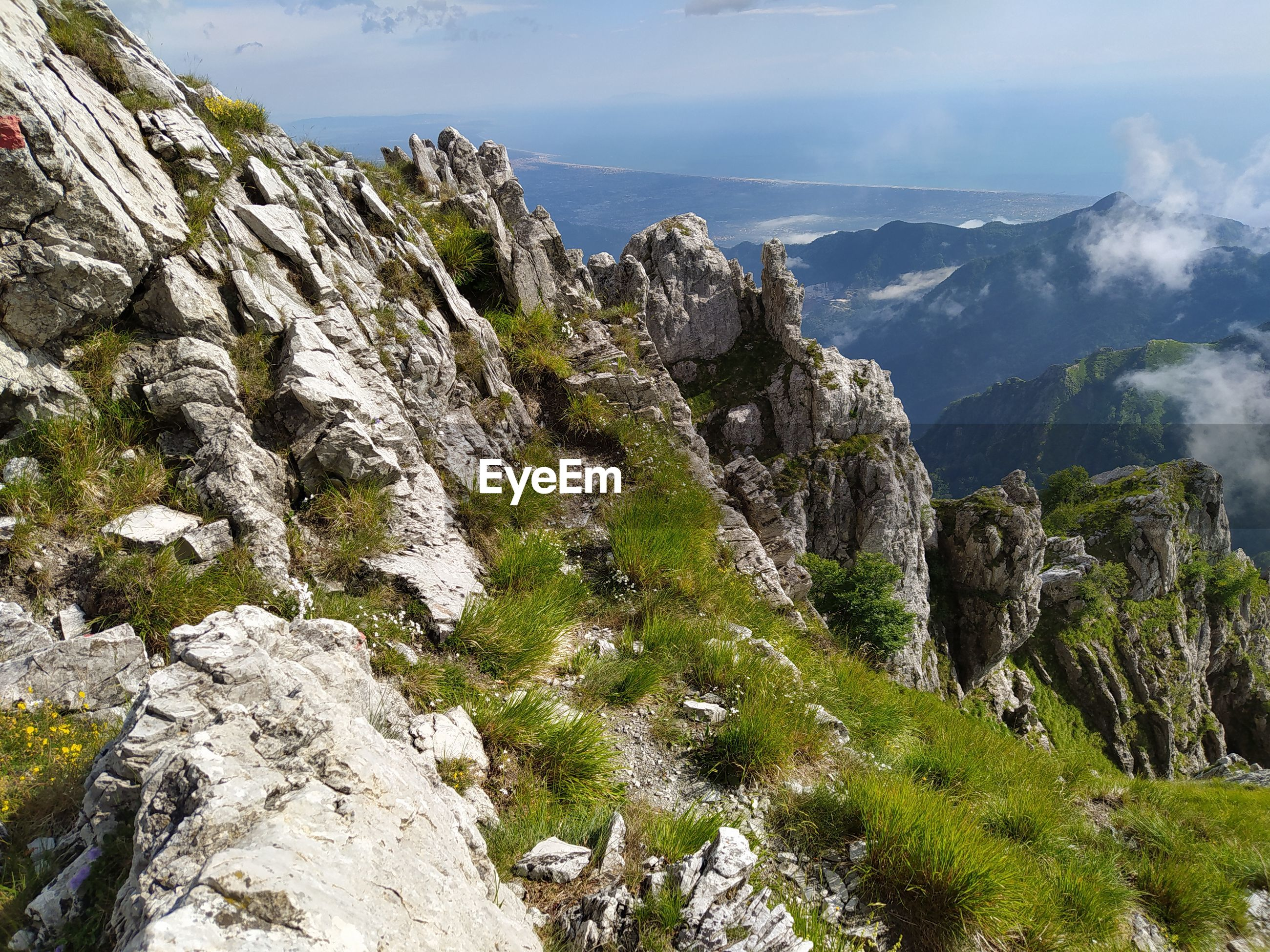 Panoramic viewpoint in the nature of the woods and mountains of the apuan alps in apennines