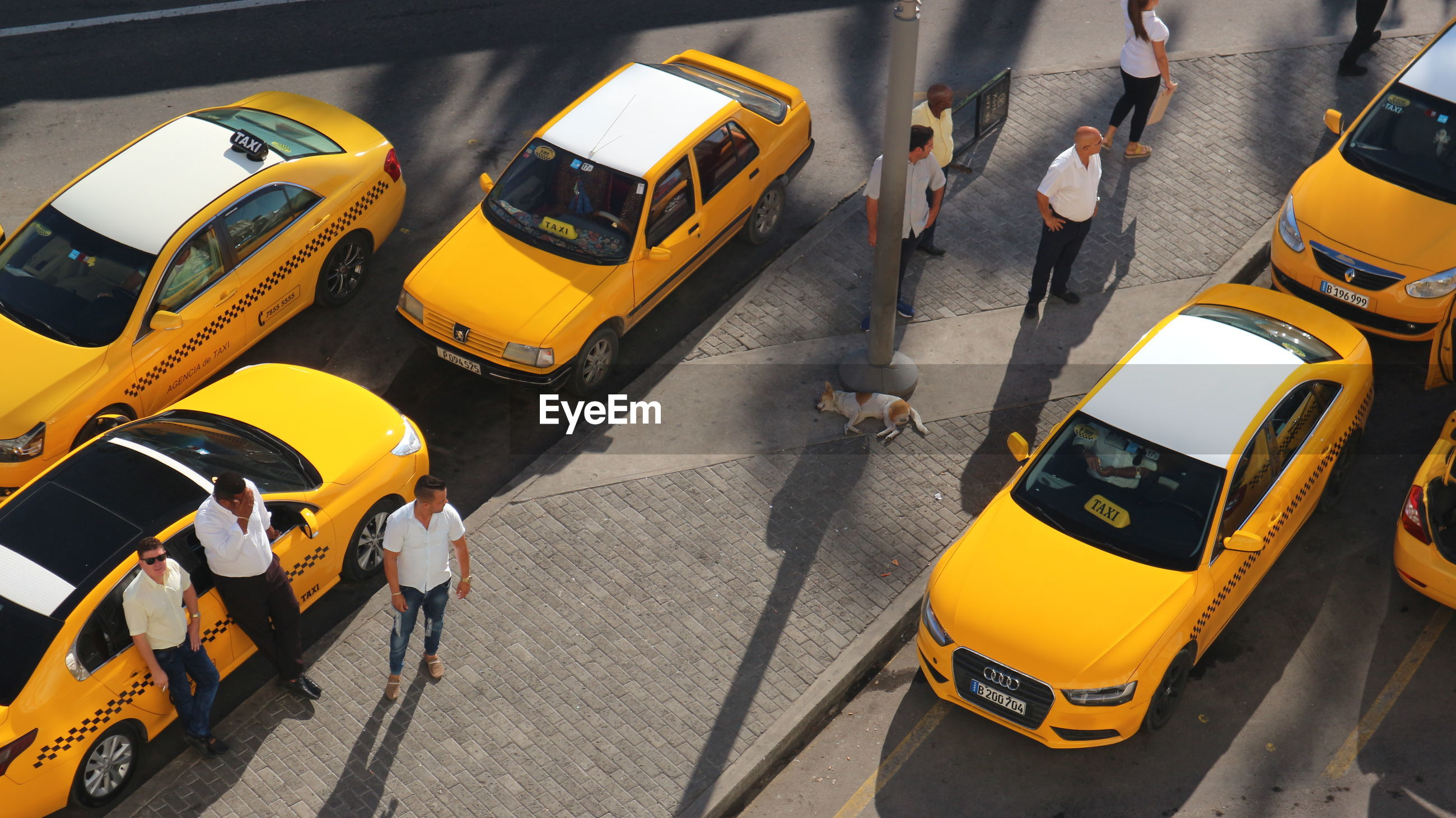HIGH ANGLE VIEW OF YELLOW CAR ON ROAD