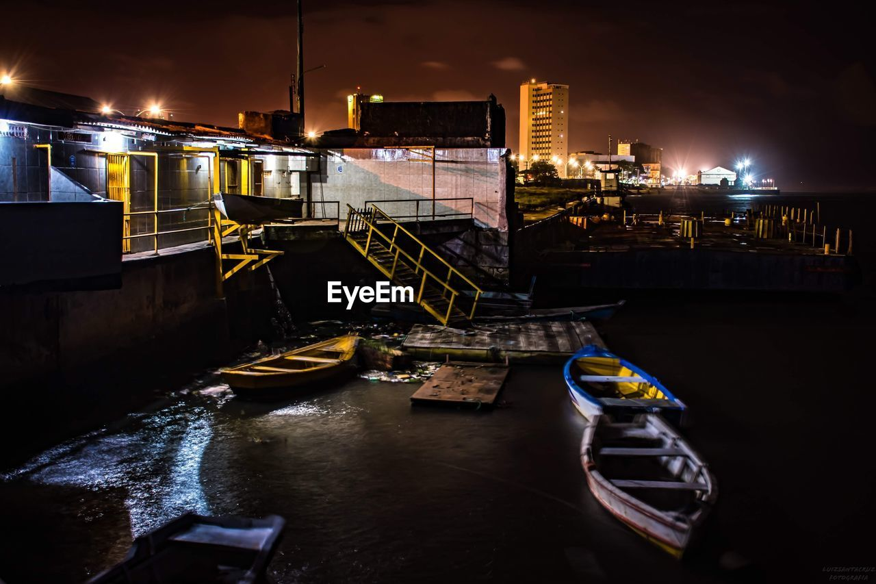 nautical vessel, night, illuminated, transportation, building exterior, water, architecture, built structure, mode of transportation, canal, no people, city, nature, outdoors, moored, sky, high angle view, waterfront, passenger craft
