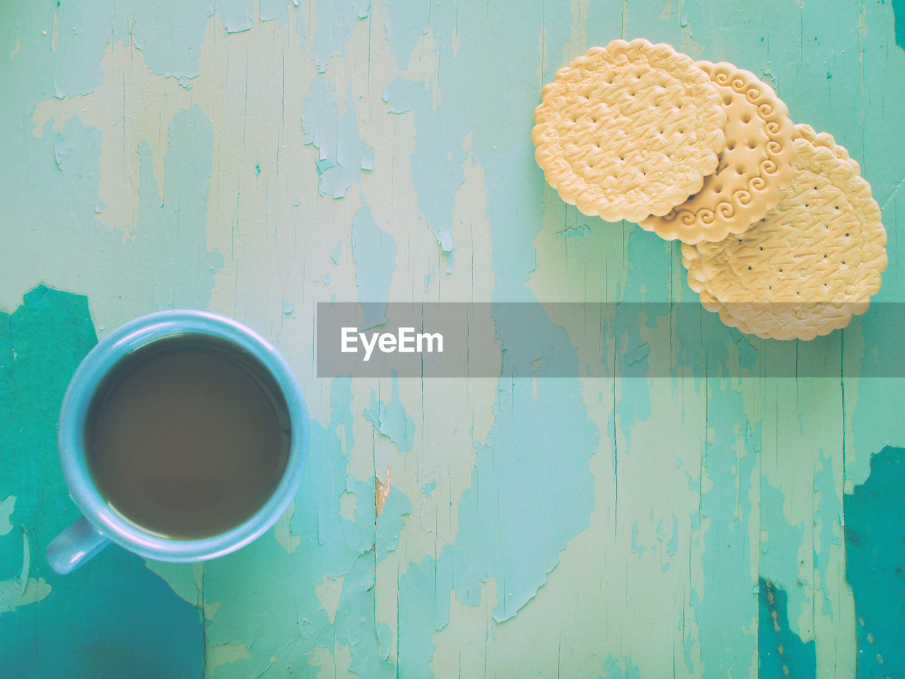 Directly Above Shot Of Coffee And Cookies On Table