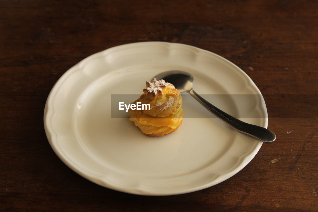 HIGH ANGLE VIEW OF BREAKFAST IN PLATE