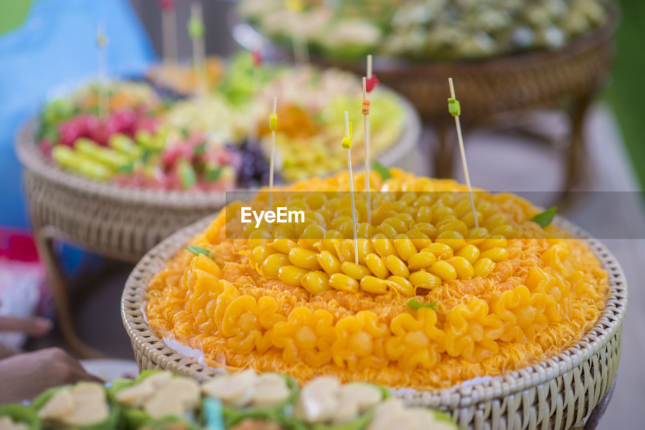 High Angle View Of Various Desserts On Table During Wedding