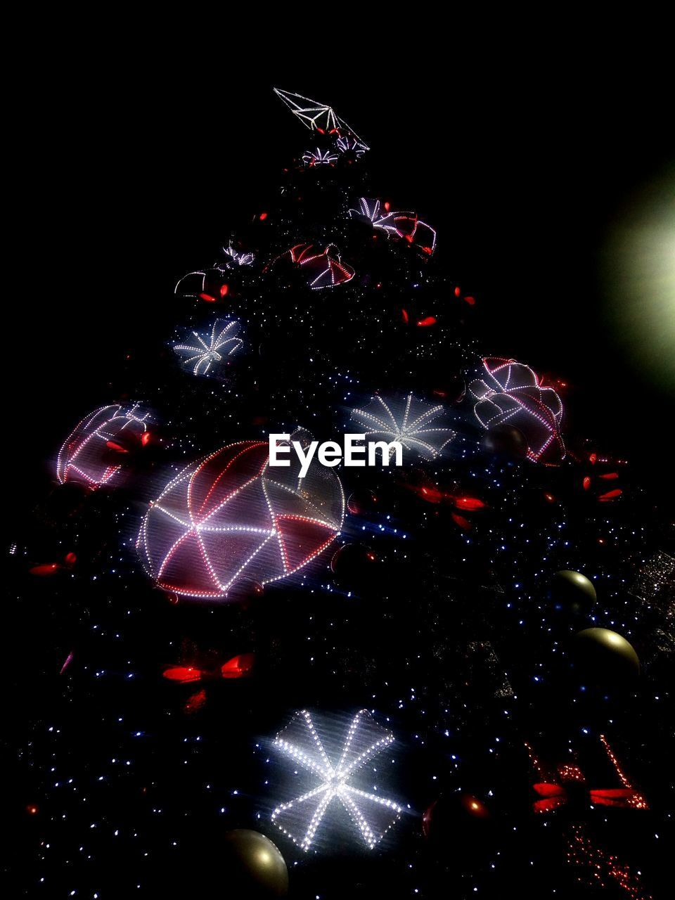christmas, celebration, night, christmas tree, christmas decoration, no people, illuminated, christmas ornament, black background, close-up, outdoors, tree