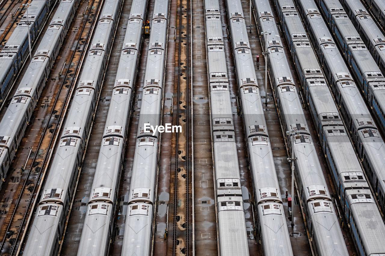 Full frame shot of train in shunting yard