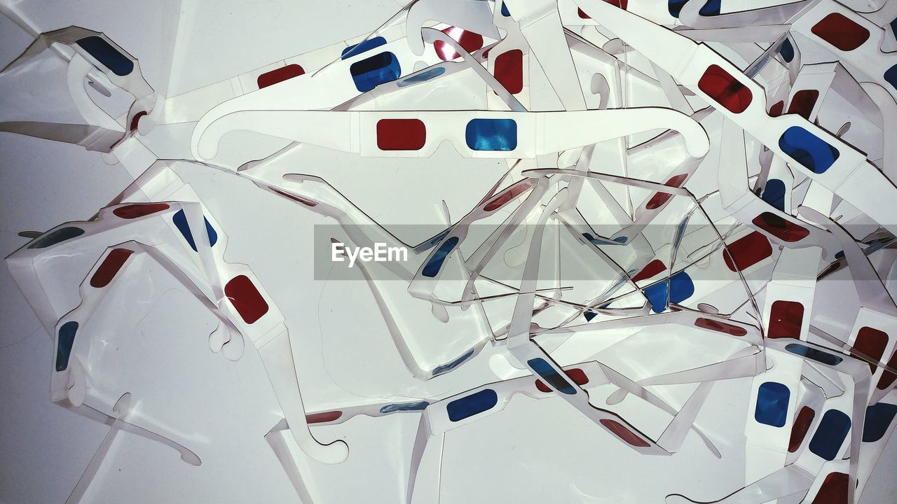 Directly Above View Of 3-D Glasses On White Background