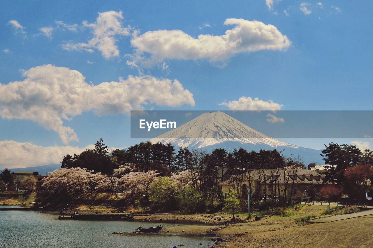 mountain, sky, cloud - sky, scenics - nature, beauty in nature, volcano, water, nature, tree, plant, no people, tranquility, tranquil scene, day, travel destinations, land, travel, non-urban scene, snowcapped mountain, mountain peak, outdoors, volcanic crater